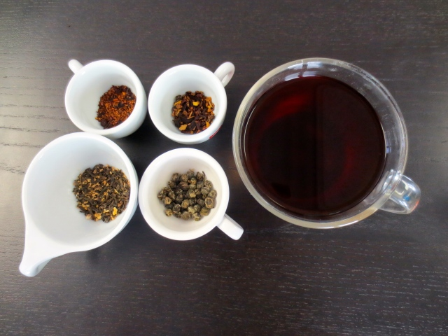 blueberry rooibos, cinnamon plum, ginger puerh, jasmine pearl and a cup of ginger puerh