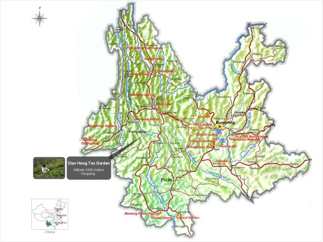 Map of Yunnan Province, China (Courtesy of TeaVivre.com)