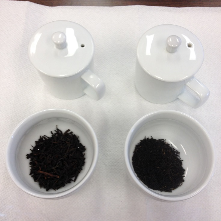 Poabs OP1 (Left) and Anhui Tea Co Keemun Hao Ya A (Left) Dry Leaves
