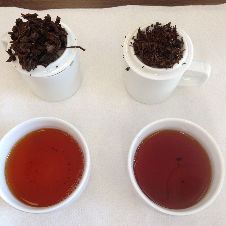 Poabs OP1 (Left) and Anhui Tea Co Keemun Hao Ya A (Left) 1st Infusion