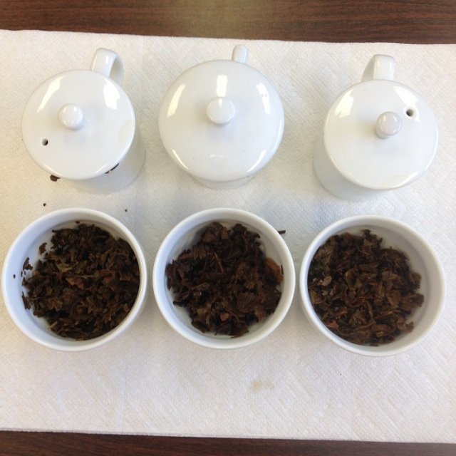 Darjeeling Autumn Flush 2013 Infused Leaf Comparison: Dooteriah (Left), Giddapahar (Center), Margaret's Hope (right)